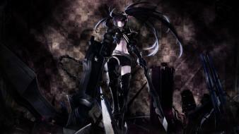аниме, black rock shooter, оружие, девушка, black, rock, shooter, insane