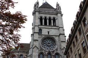 женева, города, - католические соборы,  костелы,  аббатства, башня