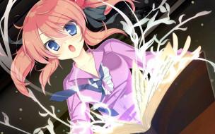 mizu no miyako no patisserie, аниме, магия, книга, галстук, блузка, девочка