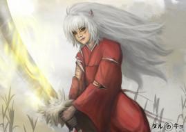 аниме, inuyasha, инуяша, арт, полу-демон, парень