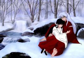 аниме, inuyasha, объятия, зима, пара, кикио, инуяша
