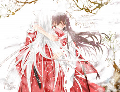 аниме, inuyasha, объятия, романтика, кагоме, полу-демон, парень, инуяша, арт