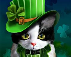 рисованное, животные, шляпа, кот