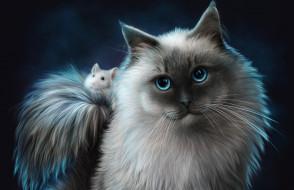 рисованное, животные, друзья, мышь, кот