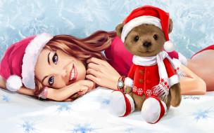 мишка, взгляд, улыбка, девушка, новый год, игрушка