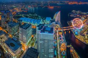города, йокогама , Япония, небоскрёбы, здания, ночной, город, токийский, залив, панорама, иокогама, минато, мирай, 21, tokyo, bay, japan, yokohama, minato, mirai
