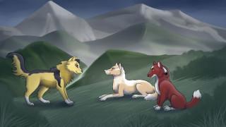 рисованное, животные,  собаки, луг, горы, собаки