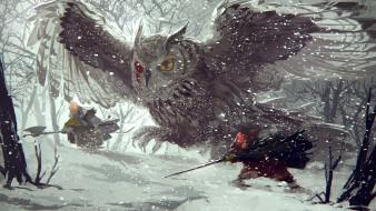 рисованное, животные, снег, зима, лес, сова, арт, nenenoa, сабля, мышь