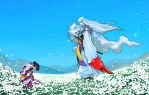 аниме, inuyasha, anime, field, кимоно, kimono, фанарт, fanart, самурай, samurai, сэссёмару, арт, рисунок, art, инуяша, луг, meadow, поле, sesshomaru