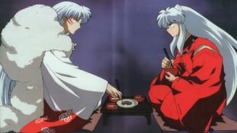 аниме, inuyasha, демоны, парни, скан, еда, братья, сешимару, инуяша