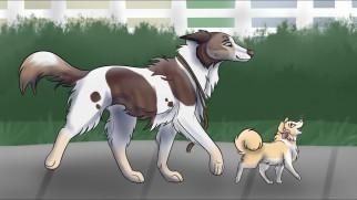 рисованное, животные,  собаки, щенок, фон, взгляд, собака