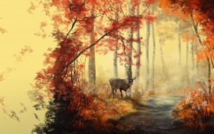 рисованное, животные, лес, олень