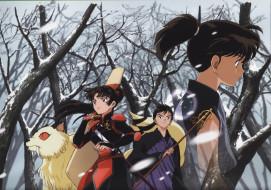 аниме, inuyasha, зима, снег, кохаку, мироку, кирара, санго, инуяша, скан