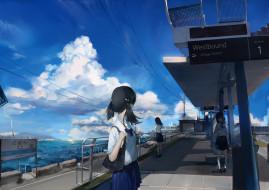 обои для рабочего стола 2000x1414 аниме, город,  улицы,  здания, море, облака, небо, арт, девочки, qqwew00123