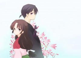 аниме, inuyasha, санго, пара, цветы, мироку, фон