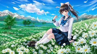 loveplus, аниме, цветы, фон, девушка, взгляд