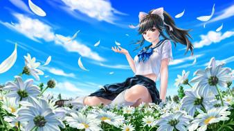 loveplus, аниме, цветы, фон, взгляд, девушка