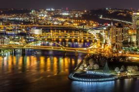 pittsburgh`s golden bridges, города, питтсбург , сша, огни, мосты, ночь