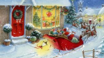 дома, улица, санта Клаус, олени, сани, фонарь, мешок, подарки, снег