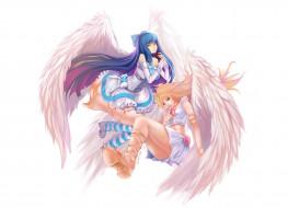 аниме, panty & stocking with garterbelt, крылья, белый, фон, сердечки, девушки